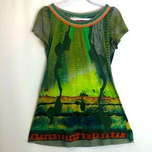 Save the Queen Italy jersey printed tunic top Sz M